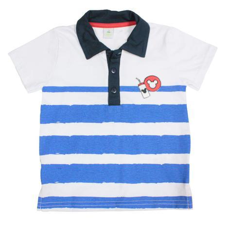 8550f0d382 Camisa Polo Manga Curta - Branco e Azul Marinho - Mickey Mouse - Disney