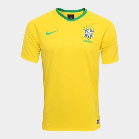 2da2d619230f9 Camisa Seleção Brasil I 2018 s/n - Torcedor Estádio Nike Masculina - Amarelo  e Verde - Adidas