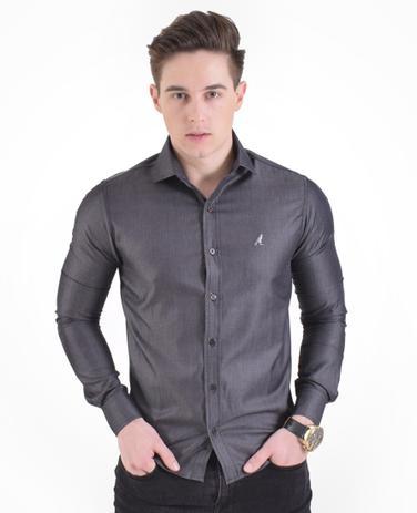 e183e33b52 Camisa Social Cinza Escuro Masculina Slim - Levok - Camisas ...