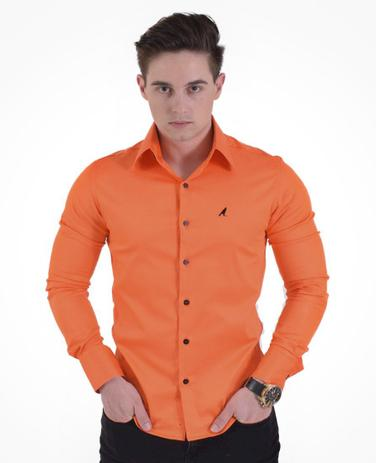 0d7f3baa29 Camisa Social Laranja Masculina Super Slim - Hórus oficial ...