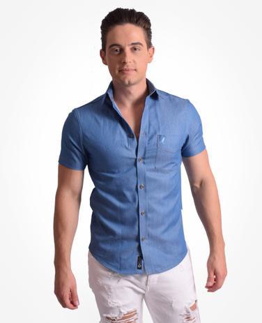 942f1a6938 Camisa Social Manga Curta Masculina Jeans Slim - Levok - Vestuário ...