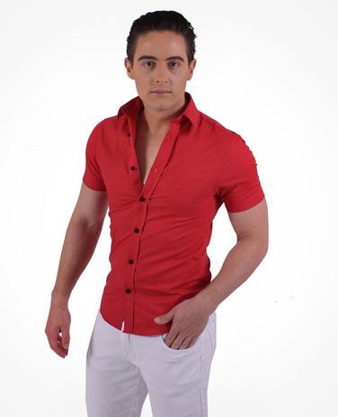 a025fa3952 Camisa Social Manga Curta Masculina Slim Vermelha - Hórus oficial ...