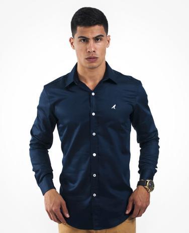 bc96609a9 Camisa Social Masculina Slim Azul Marinho - Hórus oficial ...