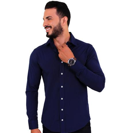 684e9989f1 Camisa Social Masculina Slim Manga Longa Azul Marinho C15 - U.s born ...