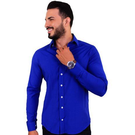 1b6519f558 Camisa Social Masculina Slim Manga Longa Azul Royal C20 - U.s born ...