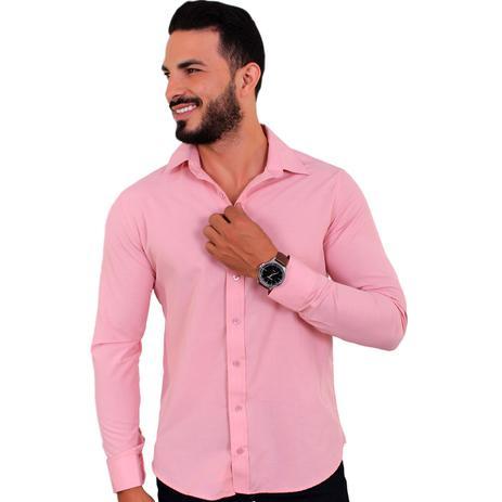a1492c141d Camisa Social Masculina Slim Manga Longa Rosa Seco C18 - U.s born ...