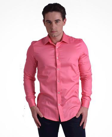 97c3ce07f3 Camisa Social Masculina Slim Rosa - Hórus oficial - Vestuário ...