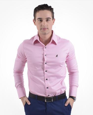 571f9c787e Camisa Social Rosa Masculina Super Slim - Hórus oficial - Vestuário ...