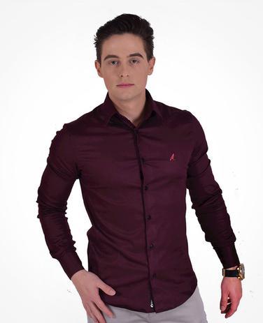 d5f0748e81 Camisa Social Vinho Masculina Super Slim - Hórus oficial - Vestuário ...
