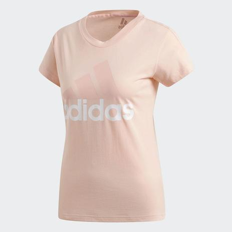 e84ccfd4dac Camiseta Adidas Ess Li Sli Tee Feminina - Rosa Claro - Camisa de ...