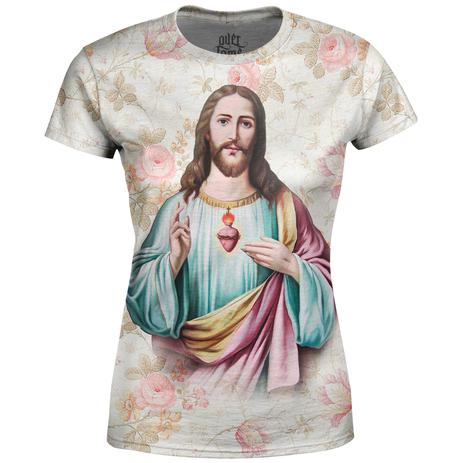 61612a96a Camiseta Baby Look Feminina Jesus Cristo Floral Md03 - Over fame ...