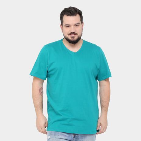 46fbe3af0a Camiseta Básica Masculina Gola V 100 Algodão kohmar- Azul Turmalina ...