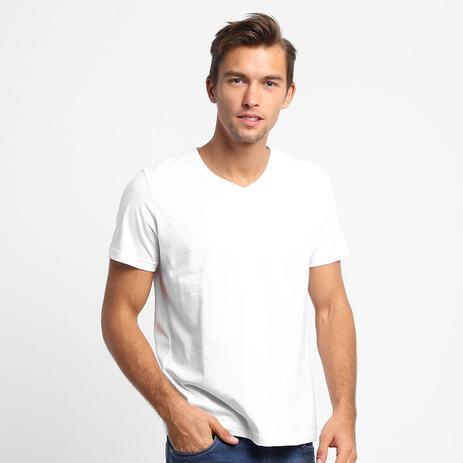 23803616b9 Camiseta Básica Masculina Gola V 100 Algodão kohmar- Branca - Camisa ...