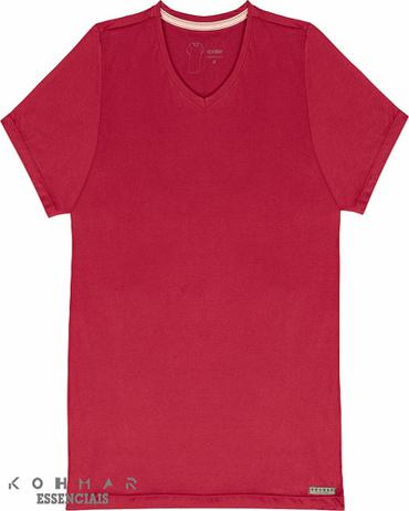 35a33e9f3 Camiseta Básica Masculina Gola V 100 Algodão kohmar- Vermelha ...