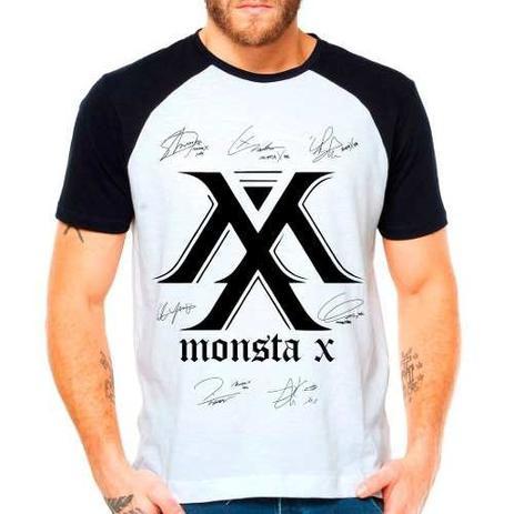 Imagem de Camiseta Blusa Raglan Kpop K-pop Monsta X Autografos Membros