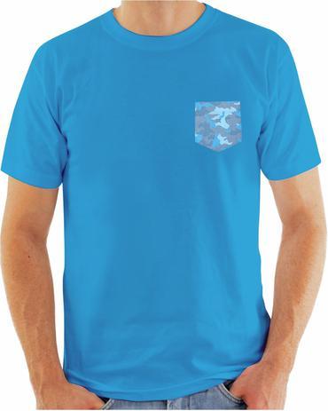 b969c701ad41e Camiseta Bolso Camuflado Azul Camisa Manga Curta Original Algodão - Da ilha  floripa