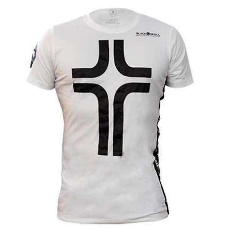 Camiseta Cruz Manga Curta Masculina - Branca - Black Skull - Fitness ... b521c87550b