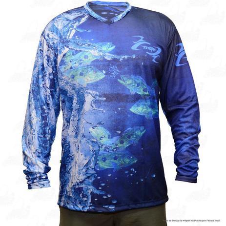 Camiseta de Pesca Mtk Attack com Proteção Solar Filtro UV Cor Azul Tucunaré 764b774d9397d