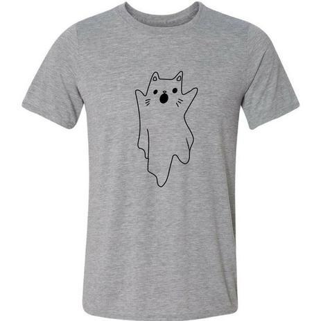 Imagem de Camiseta Gato Fantasma Fofo Assustador Engraçada Gatinho