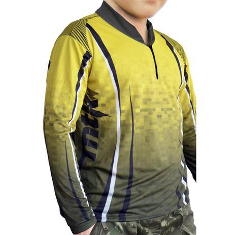 Camiseta Infantil de Pesca MTK Attack com Proteção Solar Filtro UV Cor  Yellow 5f84e920ed48a