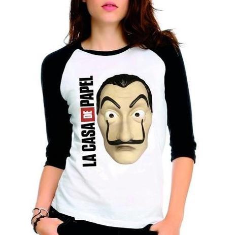 Imagem de Camiseta La Casa De Papel Mascara De Dali Serie Babylook 3/4