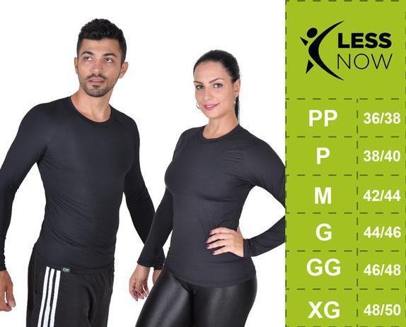 Camiseta Less Now Feminina Fator Proteção Solar 50 Uva uvb PRETA ... e4f4da0b2f8