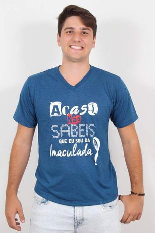 7102a22e4ee3 Camiseta Masculina Acaso Não Sabeis Nossa Senhora Católica Azul - Templo  vivo