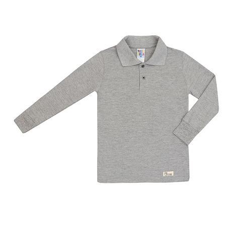 Camiseta Polo Básica Masculino Manga Longa Mescla Cinza - Pulla bulla 5db041b203