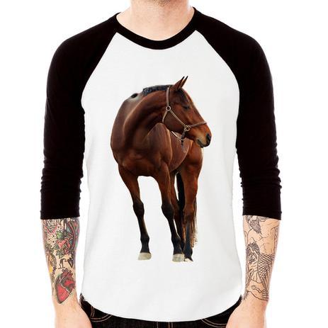 7212bbbb5df439 Camiseta Raglan Cavalo Andaluz Manga 3/4 - Branco - Foca na Moda