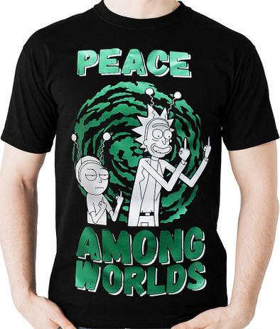 Imagem de Camiseta Rick Morty Peace Among World - Camisa Blusa Geek
