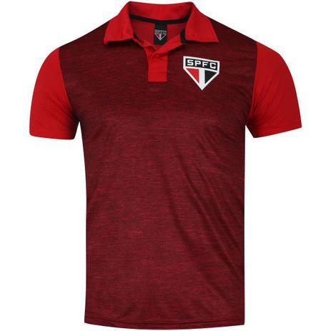 9db194836e Camiseta São Paulo Polo Mescla SPR Masculina - Vermelho Escuro ...