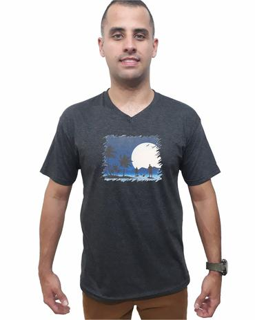 93d8f6b07 Camiseta Sup Surf Mescla Preta Gola V Camisa Masculina Original Algodão  Qualidade - Da ilha floripa
