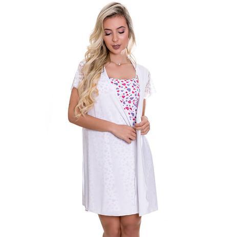 6752ed199 Camisola Amamentação Estampada Com Robe Branco - GL349-ES207 - Estilo  sedutor