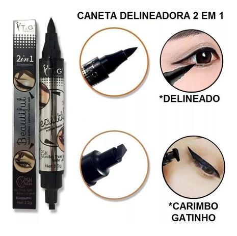 Imagem de Caneta Delineador Carimbo Olho Gatinho Longo 2 Em 1 Tango