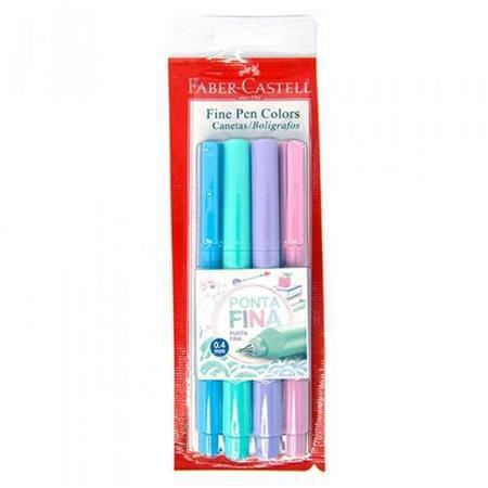 2611de5dd Caneta Faber Castell Fine Pen 0.4 Com 4 Cores Pastel - Canetas ...