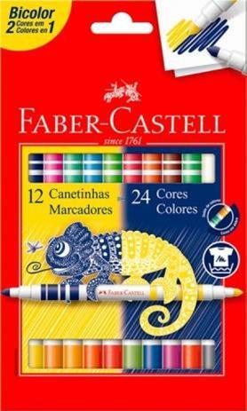 Imagem de Caneta Hidrográfica 24 Cores Bicolor Faber-castell