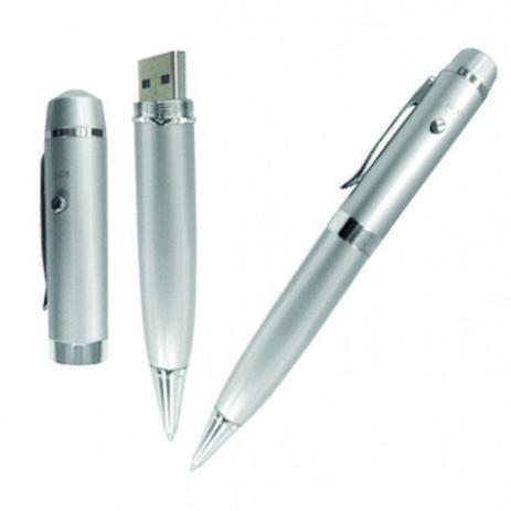5bc177f5a Caneta Pen Drive 8GB Prata com Luz Laser Personalizado - Pen drive ...