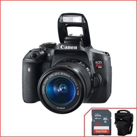 Imagem de Canon EOS  T6i, WIFI com 18-55mm f/3.5-5.6 IS STM cortesia cartão + bolsa