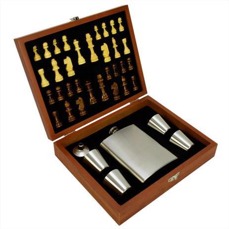 Imagem de Cantil De Bolso Porta Bebida Whisky Xadrez Prata CBRN14194