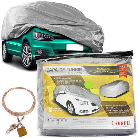 6116e915789 Capa Automotiva Cobrir Carro Protetora Forrada Total e Cadeado Tamanho P M  G Carrhel