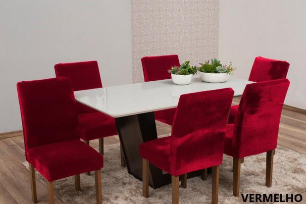 Imagem de Capa de Cadeira 6 Lugares Veludo Molhado Vermelho