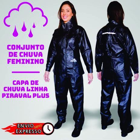 Imagem de Capa de Chuva  Plus Motoqueiro PVC ImpermeÃvel Preta Tamanho GG Feminina