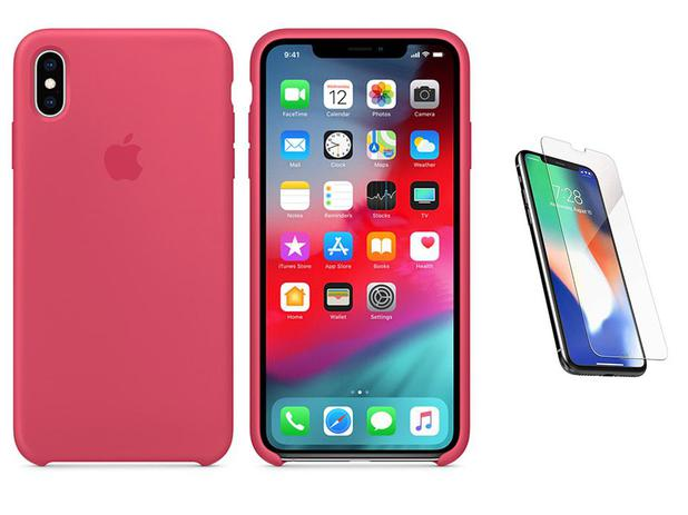 """ff0d4c0ee11 Capa de silicone para iPhone XR 6,1"""" Hibisco + Película de Vidro - Bd cases"""