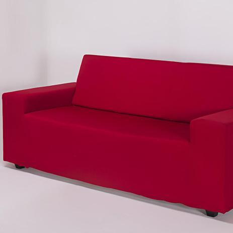 Imagem de Capa de Sofá 2 Lugares Lisa Vermelha