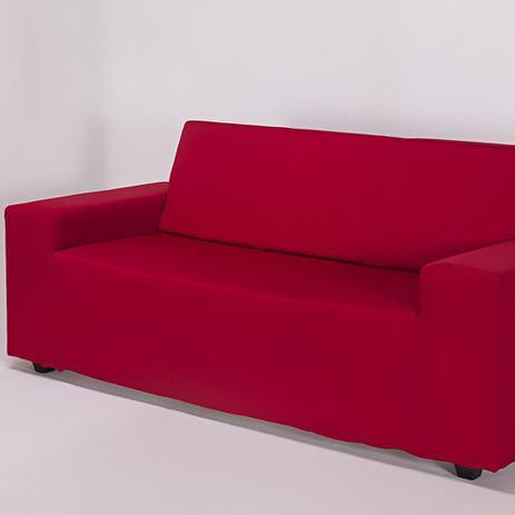 Imagem de Capa de Sofá 3 Lugares Lisa Vermelha