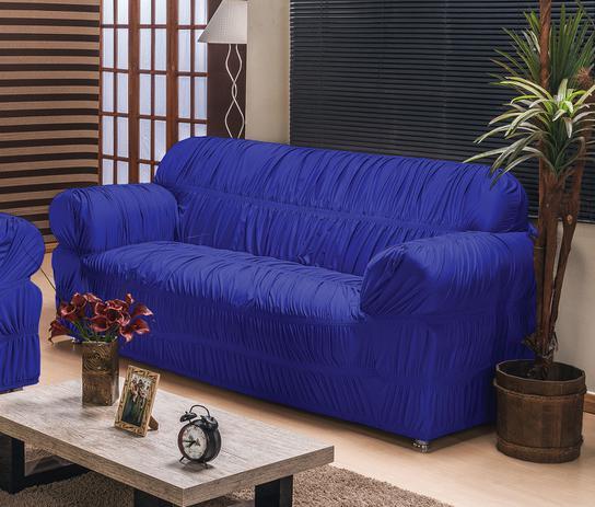 6fd41adf6 Capa de Sofá América para 3 Lugares Tecido Malha Gel 01 Peça - Azul Royal - Borda  bordados enxovais