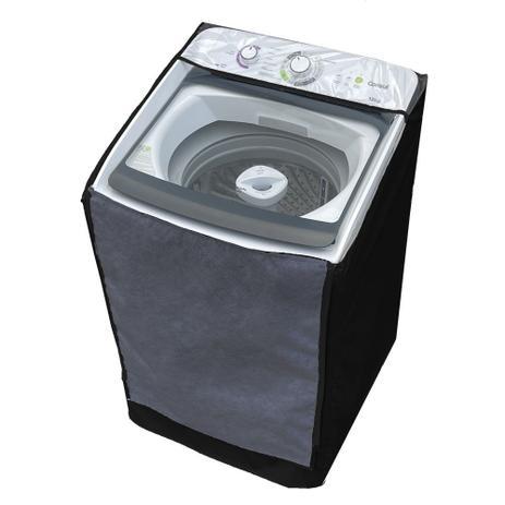 Imagem de Capa Maquina de Lavar Consul 13kg 15kg 16kg Zíper Transparente Preta