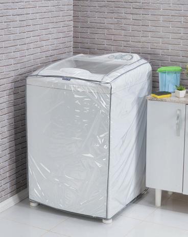 Imagem de Capa P/ Máquina De Lavar Roupa Pvc Cristal Transparente G 12kg 16kg