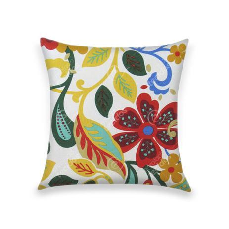feba286582e2bc Capa para Almofada em Tecido Jacquard Estampado Floral Azul, Amarelo e Verde