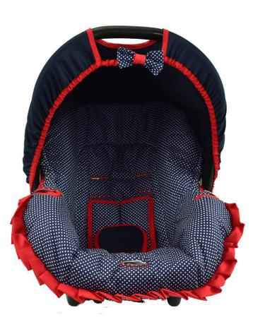 Imagem de Capa para bebe conforto - marinho com poá branco e vermelho
